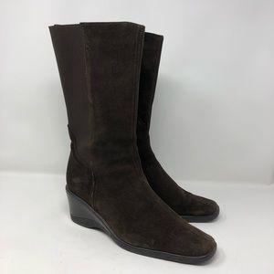 Aquatalia Weatherproof Brown Suede Wedge Boots